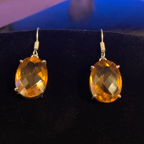 Jewelry - Oval shaped faceted Citrine Silver Earrings